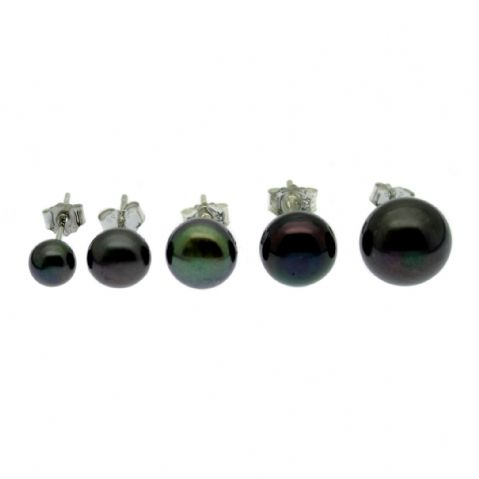 Black Pearl Earrings Freshwater Button Pearls Sterling Silver